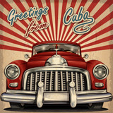Vintage touristic greeting card with retro car.Cuba.