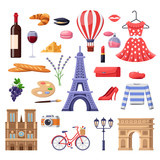 Travel to France design elements. Paris tourist landmarks, fashion and food illustration. Vector cartoon isolated icons