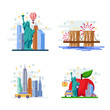 Travel to New York vector flat illustration. City symbols, landmarks and famous places. USA icons and design elements