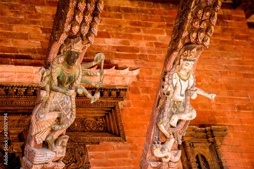 Fotobehang Rood traf. Buddha temple in Kathmandu, the capital city of the Federal Democratic Republic of Nepal, Asia