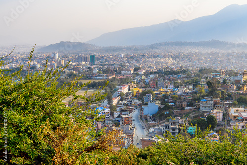 View of Katmandu from the Swayambhunath , an ancient religious architecture atop a hill © siempreverde22