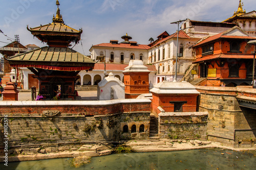 Poster Pashupatinath Temple, a famous, sacred Hindu temple, Bagmati River, Kathmandu, capital of Nepal. UNESCO World Heritage Sites'