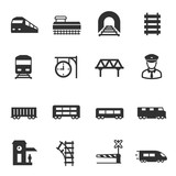 train and railways, monochrome icons set. intercity, international, freight trains, simple symbols collection - 211015363