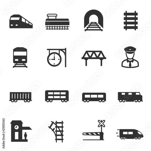 Fototapeta train and railways, monochrome icons set. intercity, international, freight trains, simple symbols collection