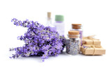 Spa products and lavender flowers on a white background - 211016304
