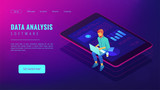 Isometric big data analysis concept. A business analyst with laptop and visual data analysis statistics pie charts and graphics on the tablets screen in violet color. Vector ultraviolet background. - 211029954