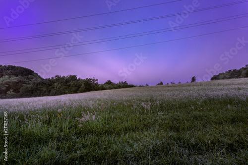 Aluminium Lente uomini e natura: una linea dell'alta tensione passa sopra un campo con la nebbia all'alba