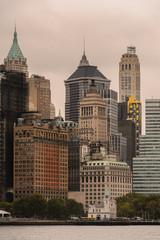 Architecture of the Downtown of Manhattan on a cloudy day, NY, United Sates of America