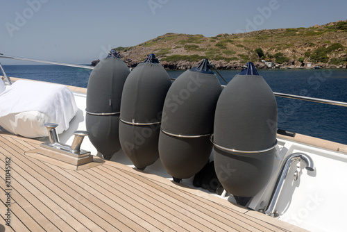 Fotobehang Schip Deck of a luxury motorboat and the sea
