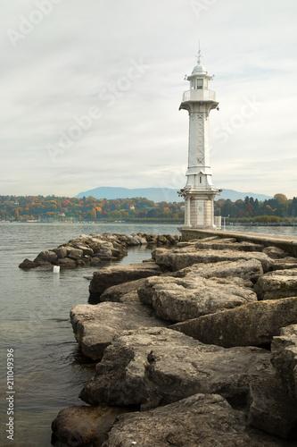 Plexiglas Vuurtoren Les Paquis Lighthouse in Genève, Switzerland