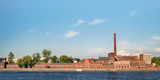 Old factory at river quay panoramic view. Saint Petersburg, Russia - 211050312