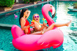 Leinwandbild Motiv Two cool sexy girls sunglasses having fun in the pool floating on a large inflatable pink flamingo in a hotel on summer vacation on a tropical island. The concept of summer leisure freedom of pleasure