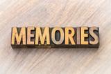 memories - word abstract in wood type - 211057772