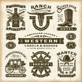 Vintage Western Labels And Badges Set. Editable EPS10 vector illustration in retro woodcut style with transparency. - 211058197