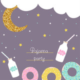 Pajama party cute flyer with donut, milk and glitter moon. Vector hand drawn illustration. - 211058777