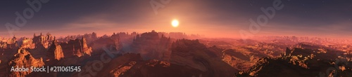 Fotobehang Zalm Panorama of Mars. Martian landscape. Extraterrestrial mountain landscape. 3D rendering