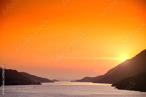 Aluminium Oranje eclat Beautiful sunset in Connemara, Ireland.