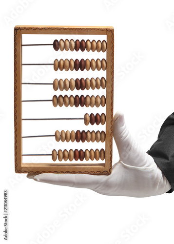 Hand in a white glove holding a wooden abacus on a white background. - 211064983