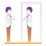 Cartoon Businessman looking himself in the mirror over white background, vector illustration - 211066105