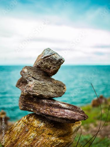 Fotobehang Zen Stenen Close up stone tower Near the sea in Khao Laem Ya National Park Thailand,Rock zen on the summers sea background