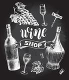 Wine concept set. Bottles, glasses, cork, grape bunch, corkscrew. Ink hand drawn Vector illustration with brush calligraphy style lettering. Drink element for menu design. - 211093715