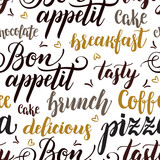 Decorative seamless pattern with brush calligraphy style lettering. Food concept. Design template for cafes, restaurants, menu. Vector illustration. - 211093787
