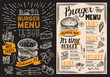 Burger restaurant menu. Food flyer on blackboard background for bar and cafe. Design template with vintage hand-drawn illustrations.