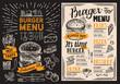 Burger restaurant menu. Food flyer on blackboard background for bar and cafe. Design template with vintage hand-drawn illustrations. - 211095139