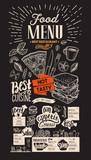Food menu for restaurant. Vector food flyer for bar and cafe on chalkboard background. Design template with vintage hand-drawn illustrations. - 211095188