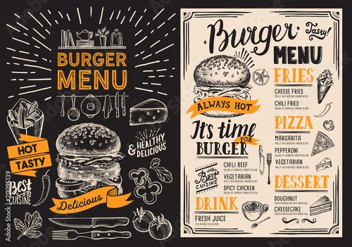 Sticker Burger restaurant menu. Food flyer on blackboard background for bar and cafe. Design template with vintage hand-drawn illustrations.