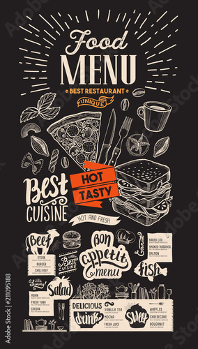 Food menu for restaurant. Vector food flyer for bar and cafe on chalkboard background. Design template with vintage hand-drawn illustrations. - 211095188