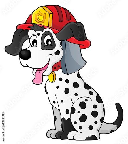 Fotobehang Voor kinderen Firefighter dog theme 1