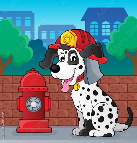 Fotobehang Voor kinderen Firefighter dog theme 2