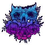 Vector illustration with a human skull and flowers. Gothic brutal skull. For print t-shirts or book coloring. - 211098112