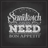 Chalk drawing typography sandwich menu design. Lettering poster All you need is sandwich - 211099329