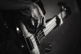 Electric bass guitar player hands, live music - 211101770