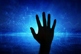 Dark human hand on cyberspace artificial intelligence network background. - 211104123