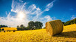 canvas print picture - Landscape in summer with hay bales on a field and blue sky with bright sun in the background