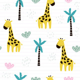 Cute kids seamless pattern with giraffe and palm tree. Fashion nursery print. Vector hand drawn illustration. - 211120515