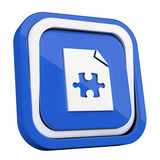 ikona plastikowa 3D niebieski kwadrat pierścień - 211121165