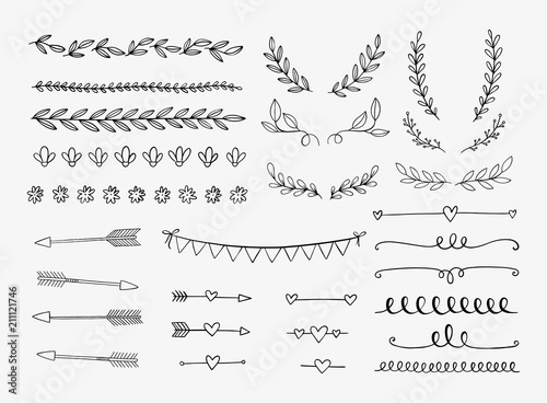Vector dividers, laurels, swirls and arrows. Hand drawn doodle design elements. Borders and lines isolated. - 211121746