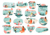 Hand drawn vector abstract graphic cartoon summer time flat illustrations sign big collection set with girl,mermaid,camping tent,toucan birds and typography quotes isolated on white background - 211125107