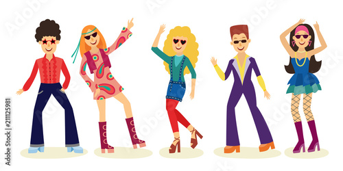People dancing disco set with men and women in fashion clothes 70s isolated on white background. Vector illustration collection of night club or party dancers in retro style. - 211125981
