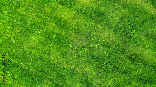 Aerial. Green grass lawn background texture. - 211128344