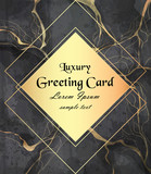 Luxury greeting card with golden frame on black marble background Vector. Luxury stone pattern textures