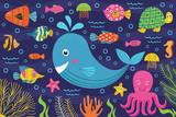 marine animals in the sea -  vector illustration, eps