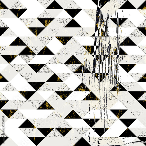 Aluminium Abstract met Penseelstreken Abstract geometric seamless pattern, with triangles, dots, paint strokes and splashes, black and white.