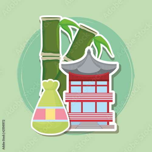 lucky bag with bamboo stick and iconic palace over green background, colorful design. vector illustration