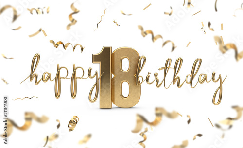 happy 18th birthday gold greeting background 3d rendering buy