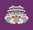 beautiful flowers with iconic building of asia over purple background, colorful design. vector illustration